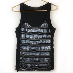 Express Black and Silver Sequin Tank Top